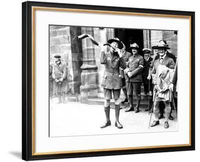 Sir Robert Baden-Powell Playing the Kudu Horn, Birkenhead--Framed Photographic Print