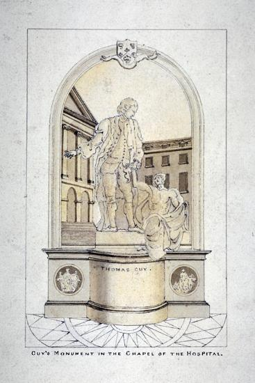 Sir Thomas Guy's Monument in Guy's Hospital Chapel, Southwark, London, C1790--Giclee Print