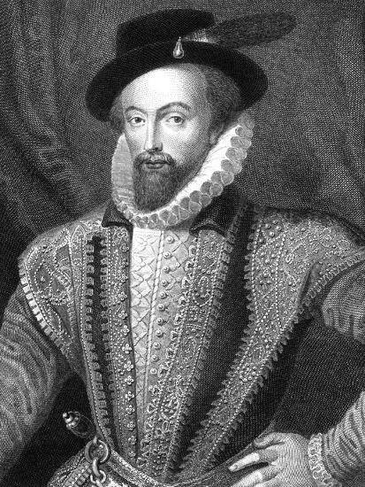 Sir Walter Raleigh, English Writer, Poet, Courtier, Adventurer and Explorer-J Fitler-Giclee Print