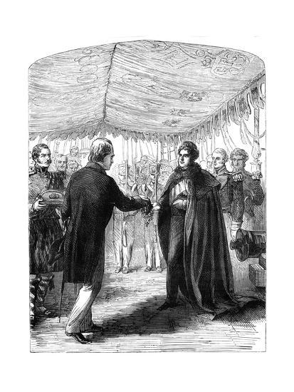 Sir Walter Scott Presenting the Cross of St Andrew to King George IV, 1822--Giclee Print