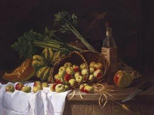 A Still Life with a Bottle of Wine, Rhubarb and an Upturned Basket of Apples on a Table by Sir William Beechey