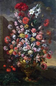 Lilies, Tulips, Carnations, Peonies, Convolvuli and Other Flowers, 1718 by Sir William Beechey