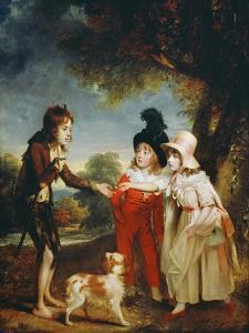 Portrait of Sir Francis Ford's Children Giving a Coin to a Beggar Boy by Sir William Beechey