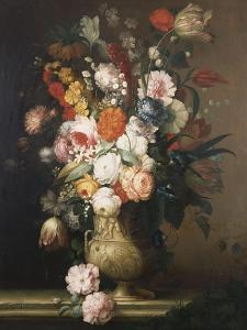 Roses, Tulips, Carnations and Other Flowers, in an Urn on a Ledge by Sir William Beechey