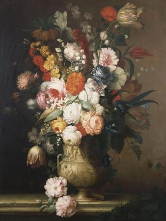 Roses, Tulips, Carnations and Other Flowers, in an Urn on a Ledge