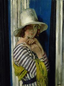 Mrs Hone in a Striped Dress, 1912 by Sir William Orpen