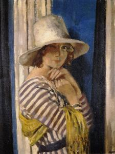 Mrs Hone in a Striped Dress, c.1912 by Sir William Orpen
