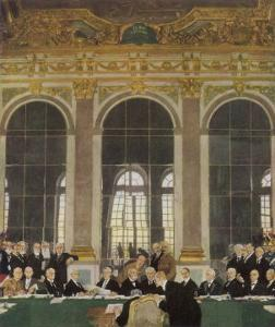 The Peace Treaty is Signed in the Palace of Versailles by Sir William Orpen