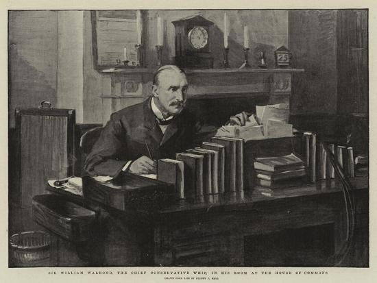 Sir William Walrond, the Chief Conservative Whip, in His Room at the House of Commons-Sydney Prior Hall-Giclee Print