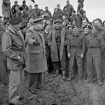 Sir Winston Churchill and Field Marshall Bernard Montgomery Visiting Men of the 79th Armoured…-English Photographer-Photographic Print