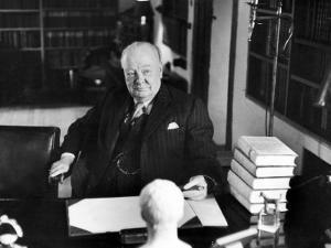 Sir Winston Churchill, Sitting Behind Desk at Chartwell