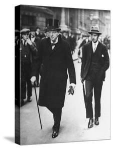 Sir Winston Churchill Walking in Street with Sir James Grigg, His Parliamentary Private Secretary