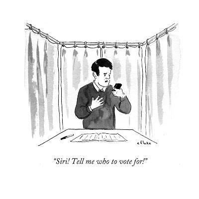 """""""Siri! Tell me who to vote for!"""" - Cartoon-Emily Flake-Premium Giclee Print"""
