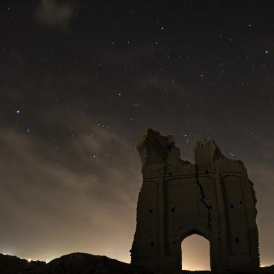 Sirius and Constellations Orion and Taurus over Ruins of the Ancient City Gate of Sar Yazd-Babak Tafreshi-Photographic Print
