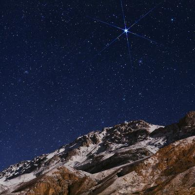 Sirius and the Constellation Canis Major Above the Alborz Mountains on a Winter Night-Babak Tafreshi-Photographic Print