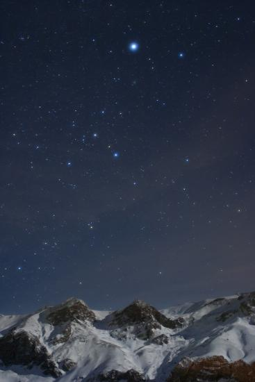 Sirius, and the Rest of Constellation Canis Major Above Snow-Covered Peaks of the Alborz Mountains-Babak Tafreshi-Photographic Print