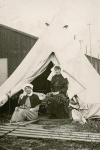 Sister Eleanor Wibmer Jeffries and Sister Nellie Constance Morrice (Right) Outside their Tent at No