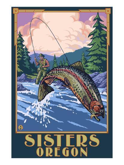 Sisters, Oregon - Fly Fisherman-Lantern Press-Art Print