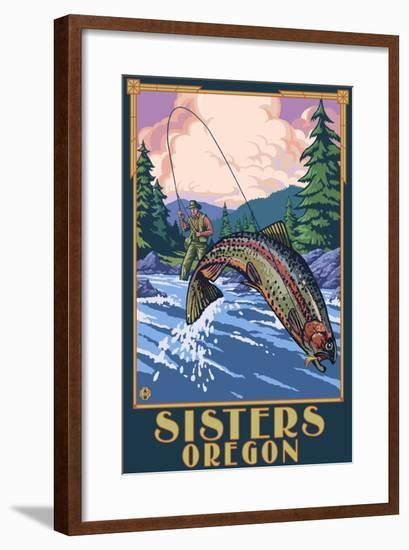 Sisters, Oregon - Fly Fisherman-Lantern Press-Framed Art Print