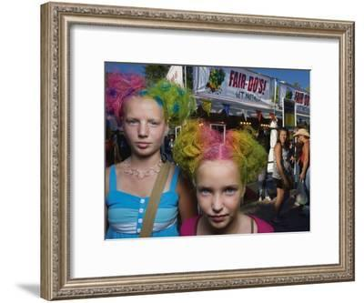 Sisters with Rainbow Colored Hairstyles with Glitter-Joel Sartore-Framed Photographic Print