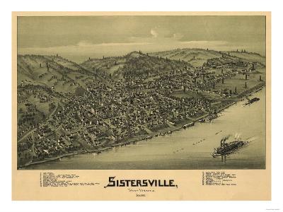 Sistersville, West Virginia - Panoramic Map-Lantern Press-Art Print