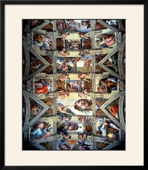 Sistine Chapel Ceiling And Lunettes 1508 12 Framed Giclee Print By Michelangelo Buonarroti Art Com