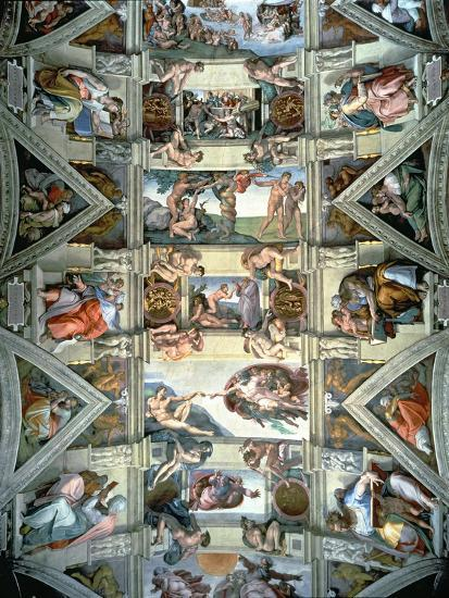 Sistine Chapel Ceiling and Lunettes, 1508-12-Michelangelo Buonarroti-Giclee Print