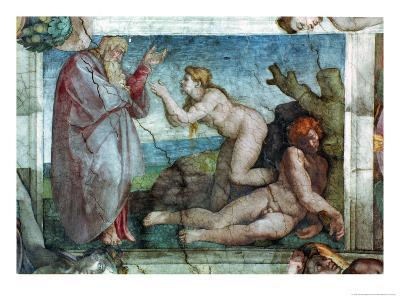 Sistine Chapel Ceiling: Creation of Eve, with Four Ignudi, 1511-Michelangelo Buonarroti-Giclee Print