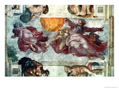 Sistine Chapel Ceiling: Creation of the Sun and Moon, 1508-12-Michelangelo Buonarroti-Giclee Print