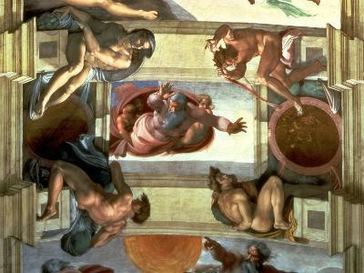 Sistine Chapel Ceiling: God Separating the Land from the Sea, with Four Ignudi, 1510-Michelangelo Buonarroti-Giclee Print