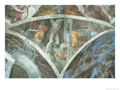 Sistine Chapel Ceiling: Haman (Spandrel) (Pre Restoration)-Michelangelo Buonarroti-Giclee Print