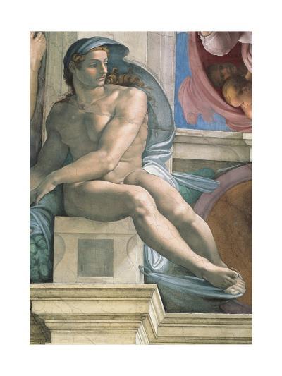 Sistine Chapel Ceiling, Male Nude-Michelangelo Buonarroti-Art Print