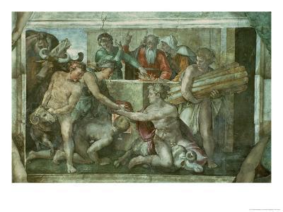 Sistine Chapel Ceiling: Noah after the Flood (Pre Restoration)-Michelangelo Buonarroti-Giclee Print