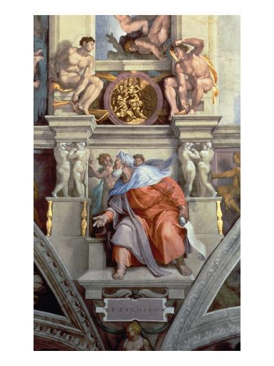Sistine Chapel Ceiling: the Prophet Ezekiel, 1510-Michelangelo Buonarroti-Giclee Print