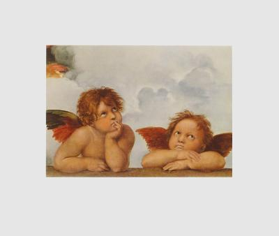 Sistine Madonna - Two Angels (Detail)-Raphael-Collectable Print