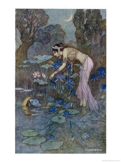 Sita Finds Rama (Seventh Avatar of Vishnu) Among the Lotus Blooms-Warwick Goble-Giclee Print