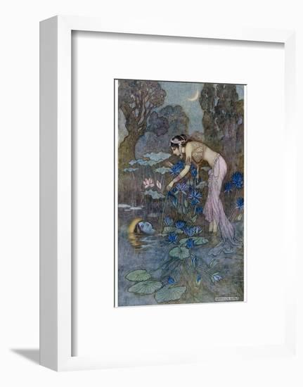 Sita Finds Rama (Seventh Avatar of Vishnu) Among the Lotus Blooms-Warwick Goble-Framed Giclee Print
