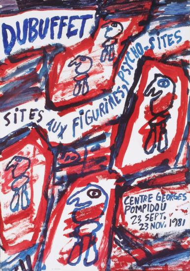 Sites aux Figurines Psycho-Sites-Jean Dubuffet-Collectable Print