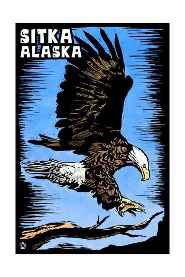 Sitka, Alaska - Bald Eagle - Scratchboard-Lantern Press-Art Print