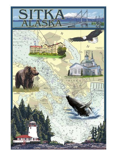 Sitka, Alaska - Nautical Chart-Lantern Press-Art Print