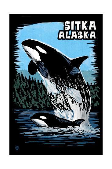 Sitka, Alaska - Orca - Scratchboard-Lantern Press-Art Print