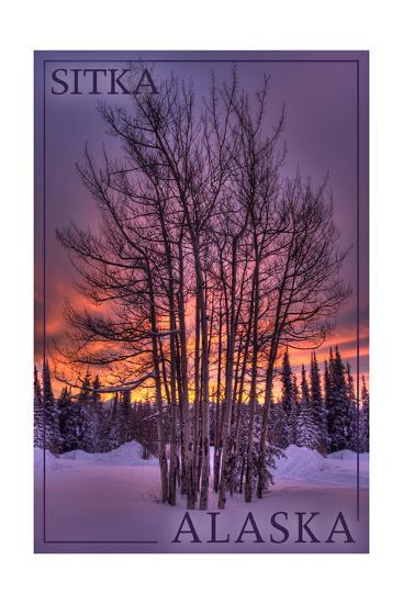 Sitka, Alaska - Tree in Snow-Lantern Press-Art Print