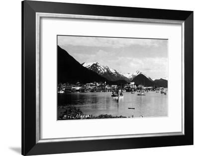 Sitka, Alaska - View of Town from Water-Lantern Press-Framed Art Print