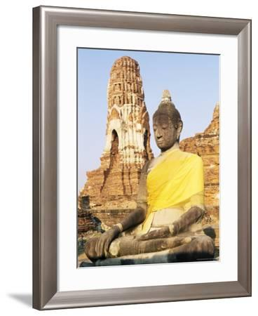 Sitting Buddha Statue and Chedi at Buddhist Temple of Wat Phra Mahathat, Thailand, Southeast Asia-Richard Nebesky-Framed Photographic Print