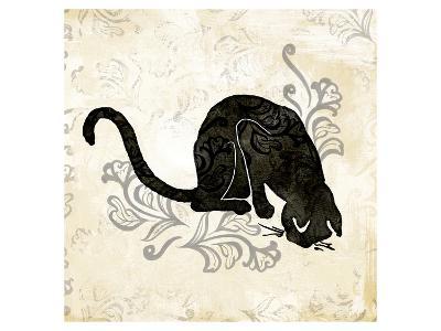 Sitting Burlap Cat-Alan Hopfensperger-Art Print