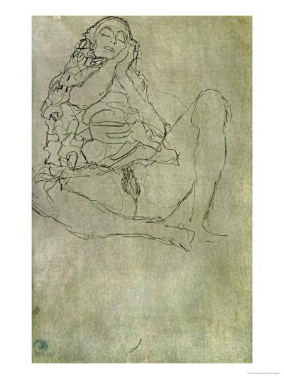Sitting Half-Nude with Closed Eyes-Gustav Klimt-Giclee Print