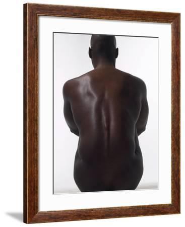 Sitting Male Nude from Behind--Framed Photographic Print