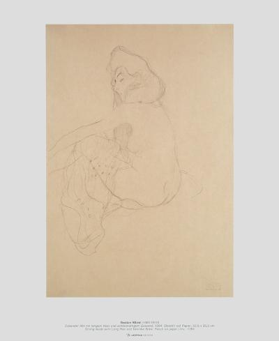 Sitting Nude with Long Hair and Veil-like Robe-Gustav Klimt-Art Print