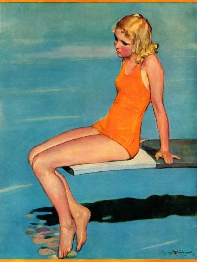 """Sitting on the Diving Board,""August 19, 1933-Penrhyn Stanlaws-Giclee Print"