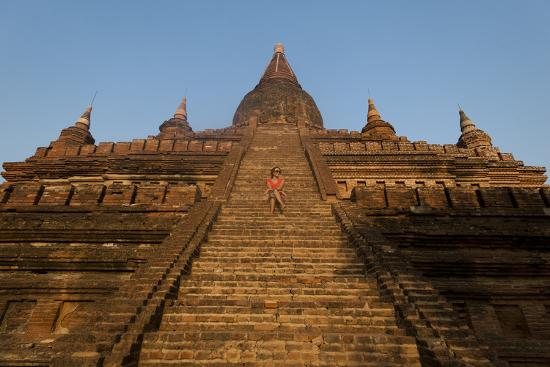 Sitting on the Steps of One of the Ancient Temples at Bagan-Alex Treadway-Photographic Print